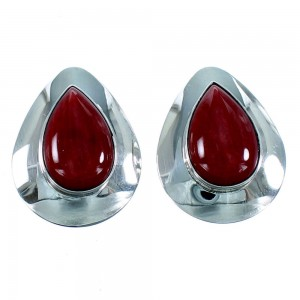 Genuine Sterling Silver Red Oyster Shell Tear Drop Clip On Earrings RX106800