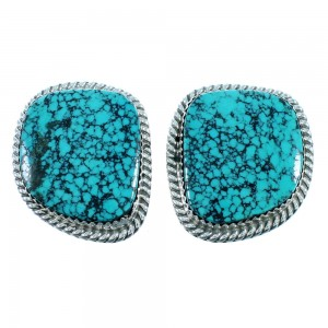 American Indian Jewelry Turquoise And Sterling Silver Post Earrings RX106834