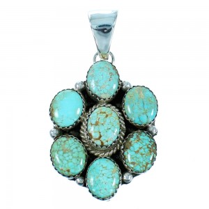 #8 Turquoise Genuine Sterling Silver Navajo Pendant RX106845