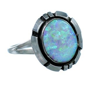 Navajo Indian Jewelry Opal And Sterling Silver Ring Size 5-3/4 EX26238
