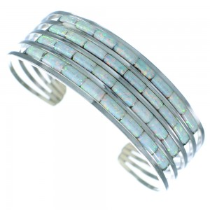 Zuni Indian Sterling Silver Opal Cuff Bracelet Jewelry RX107157