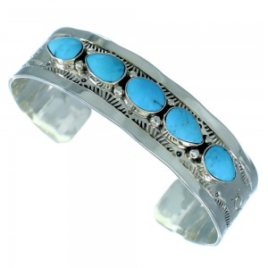 Genuine Sterling Silver Navajo Indian Turquoise Cuff Bracelet RX107178