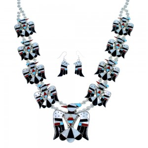 Zuni Thunderbird Multicolor Sterling Silver Squash Blossom Necklace Set SX107177