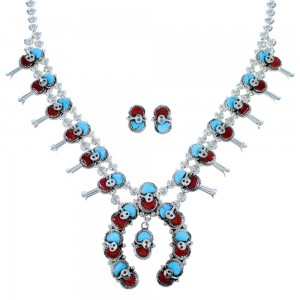 Sterling Silver Turquoise And Coral Effie Calavaza Snake Squash Blossom Necklace Set SX107170