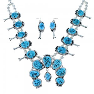 Sleeping Beauty Turquoise Sterling Silver Navajo Squash Blossom Necklace Set SX107190