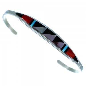 Multicolor Sterling Silver Zuni Child Cuff Bracelet SX107211
