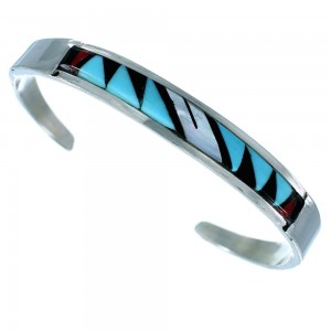 Zuni Indian Multicolor Inlay Sterling Silver Cuff Bracelet SX107217