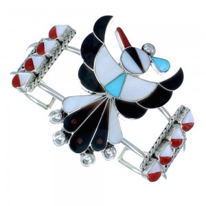 Multicolor Inlay Zuni Thunderbird Sterling Silver Cuff Bracelet SX107228