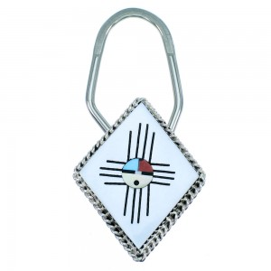 Authentic Sterling Silver Zuni Multicolor Sun Face Key Chain RX107216
