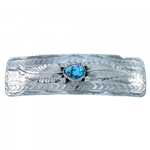 Navajo Turquoise Authentic Sterling Silver Barrette RX107244