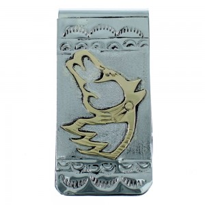 Native American Sterling Silver And 12KGF Horse Money Clip SX107245