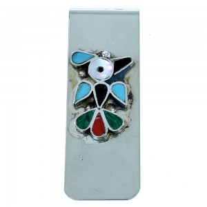 Zuni Thunderbird Sterling Silver Multicolor Money Clip SX107268