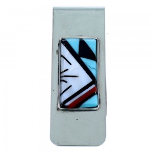 Zuni Multioclor Inlay Sterling Silver Money Clip SX107269