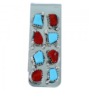 Turquoise And Coral Sterling Silver Zuni Money Clip SX107275
