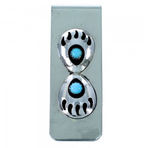 Sterling Silver And Turquoise Navajo Bear Paw Money Clip SX107277