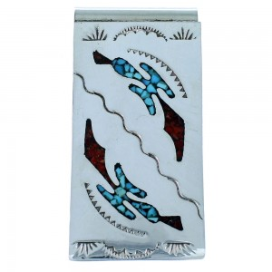 Turquoise And Coral Inlay Navajo Sterling Silver Money Clip SX107296
