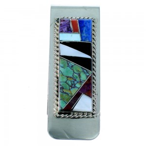 Multicolor Inlay And Authentic Sterling Silver Navajo Money Clip SX107320