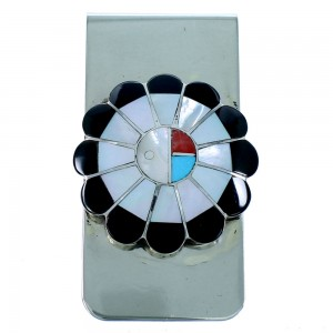 Zuni Multicolor Sun Sterling Silver Money Clip SX107327