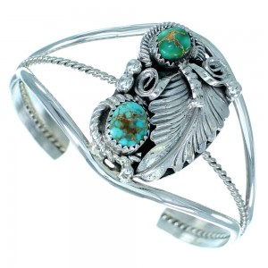 Sterling Silver Scalloped Leaf And Turquoise Native American Cuff Bracelet SX107412