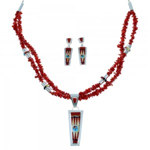 Sterling Silver Zuni Sun Multicolor 2-Strand Bead Necklace And Earrings Set SX107461