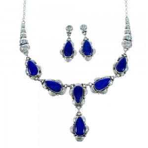 Sterling Silver Lapis Teardrop Navajo Link Necklace And Earrings Set SX107466
