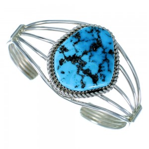 Navajo Indian Turquoise And Genuine Sterling Silver Cuff Bracelet SX107527