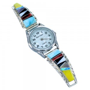 Navajo Mulitcolor Inlay Gneuine Sterling Silver Watch SX107567
