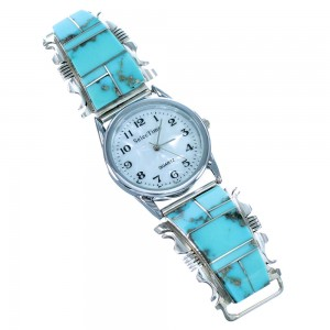 Navajo Genuine Sterling Silver Turquoise Inlay Watch SX107576