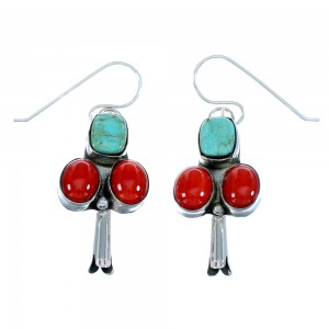 Turquoise Coral Sterling Silver Native American Squash Blossom Hook Dangle Earrings RX107559