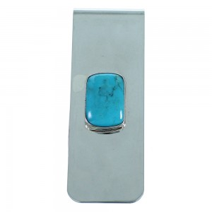 Turquoise Navajo Indian Sterling Silver Money Clip RX107571