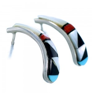 Authentic Sterling Silver Multicolor Inlay Zuni Post Hoop Earrings SX107595