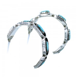 Turquoise And Sterling Silver Zuni Post Hoop Earrings SX107601