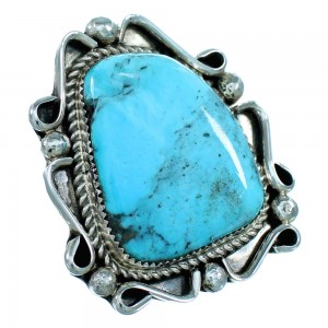 Navajo Indian Turquoise And Sterling Silver Statement Ring Size 10-1/4 SX107711