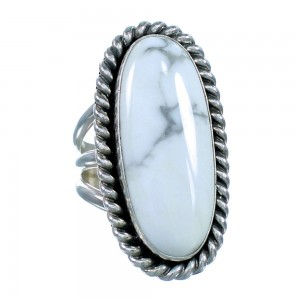 Howlite Genuine Sterling Silver Navajo Jewelry Ring Size 9 SX107874
