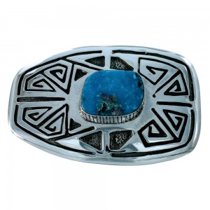Birds Eye Turquoise Water Wave Native American Belt Buckle EX22899