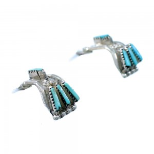 Native American Zuni Indian Jewelry Silver Turquoise Earrings ES12263