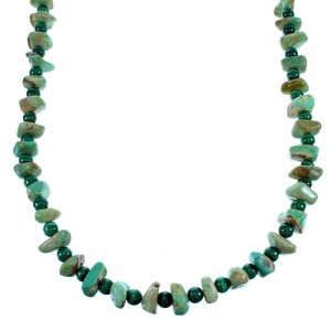 Kingman Turquoise Malachite Sterling Silver Navajo Bead Necklace SX108071