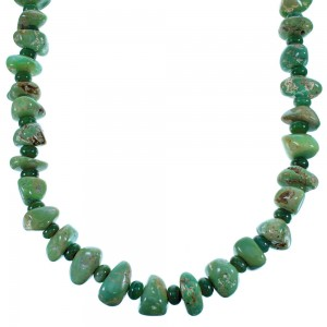 Turquoise Green Agate Navajo Sterling Silver Bead Necklace SX108110