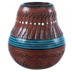Native American Pottery Hand Crafted By Navajo Shyla Watchman SX108203