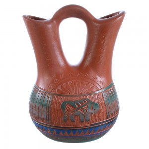Navajo Buffalo Wedding Vase Hand Crafted By Bernice Watchman Lee SX108277