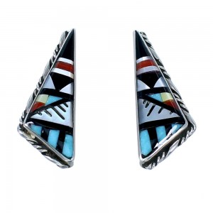 Genuine Sterling Silver Multicolor Zuni Post Earrings SX108305