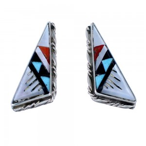 Zuni Multicolor Inlay Authentic Sterling Silver Post Earrings SX108306