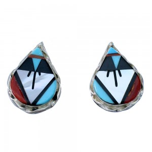 Zuni Multicolor Inlay Tear Drop Sterling Silver Post Earrings SX108311