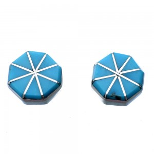 Zuni Turquoise Inlay Sterling Silver Post Earrings SX108313