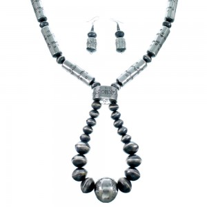 Old Pawn Style Sterling Silver Navajo Bead Necklace And Earrings Set SX108320