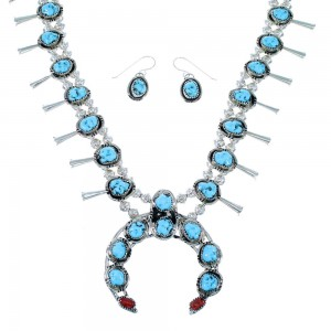 Turquoise And Coral Sterling Silver Native American Squash Blossom Necklace Set SX108326