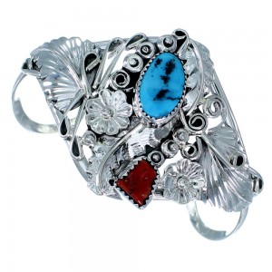 Flower And Leaf Native American Sterling Silver Turquoise Coral Cuff Bracelet RX108399