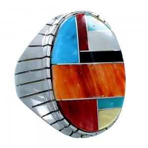 Multicolor Inlay Navajo Sterling Silver Ray Jack Ring Size 11-3/4 SX108441