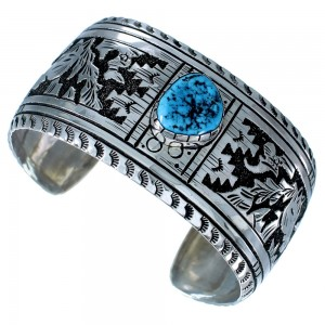 Sterling Silver Turquoise Horse American Indian Cuff Bracelet RX108462