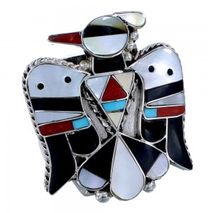 Authentic Sterling Silver Zuni Thunderbird Multicolor Ring Size 11-1/2 SX108549